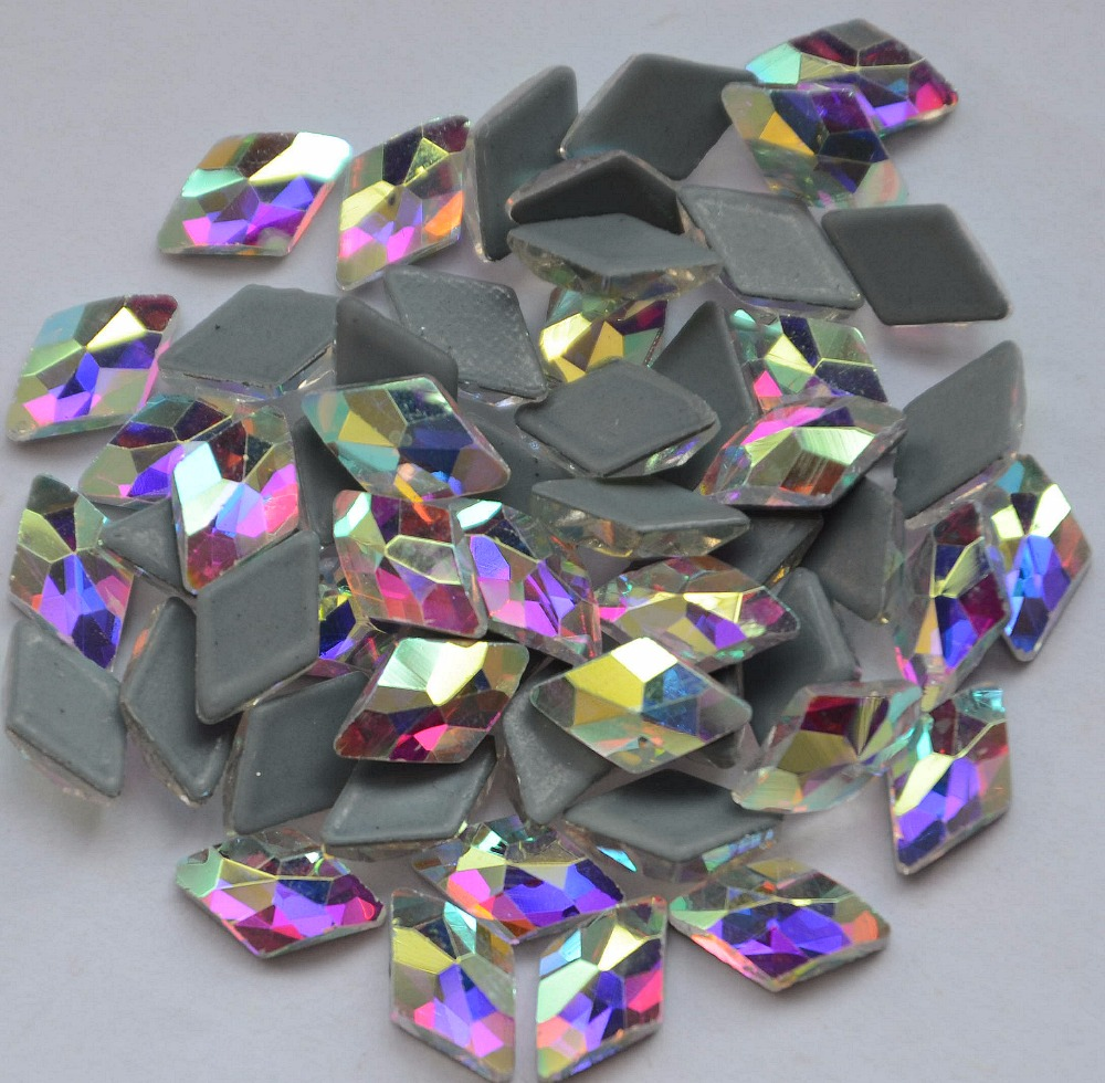 AAAA+ Best Quality 6x10mm Rhombus shape Crystal Clear AB DMC Hot Fix Rhinestone More Shiny Super Bright Hotfix Iron On Stones.