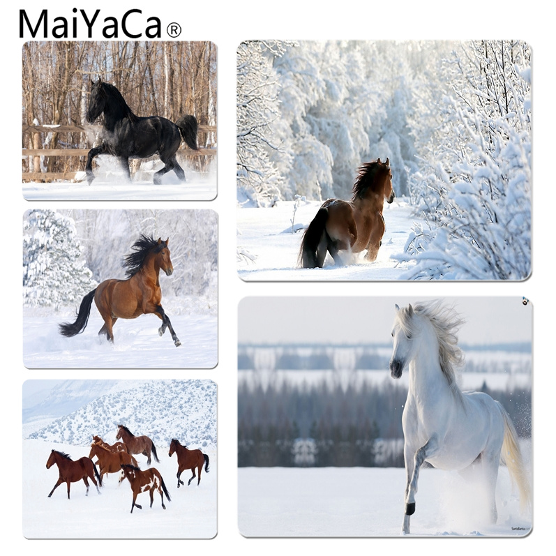 MaiYaCa Simple Design Horses in the Snow Unique Desktop Pad Game Mousepad Size for 18x22cm 25x29cm Small Mousepad