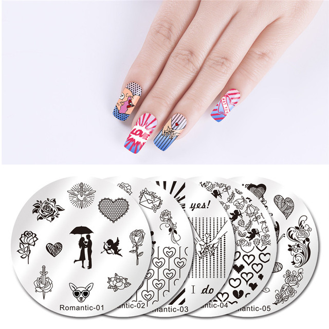 NICOLE journal 5 pièces ongles timbre modèles ensemble tatouage typographie Nature romantique série Nail Art estampage images plaques