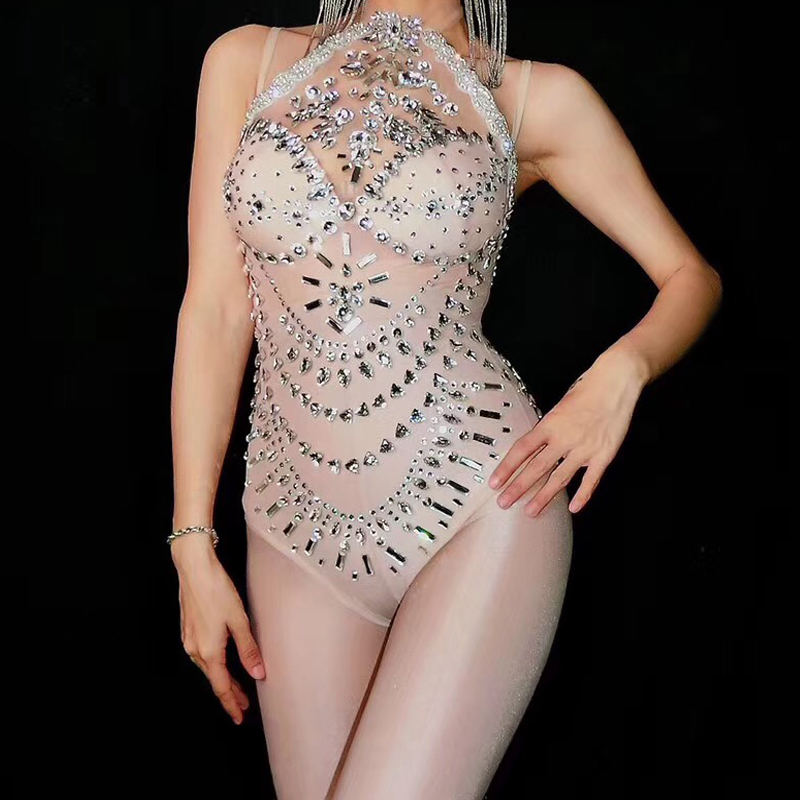 Women's New Transparent Mesh Sexy Shining Stone Bodysuit Dance Wear Costume Outfit Female Stage Costume Stretch Leotard Bodysuit