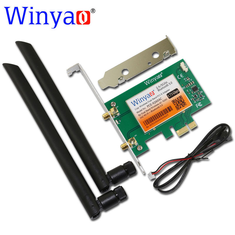 Winyao PCE-9260AC Desktop Dual Band PCI-Express X1 WiFi Adapter Wireless AC 9260NGW 1730Mbps Wireless Card PCI-E+ Bluetooth 5.0