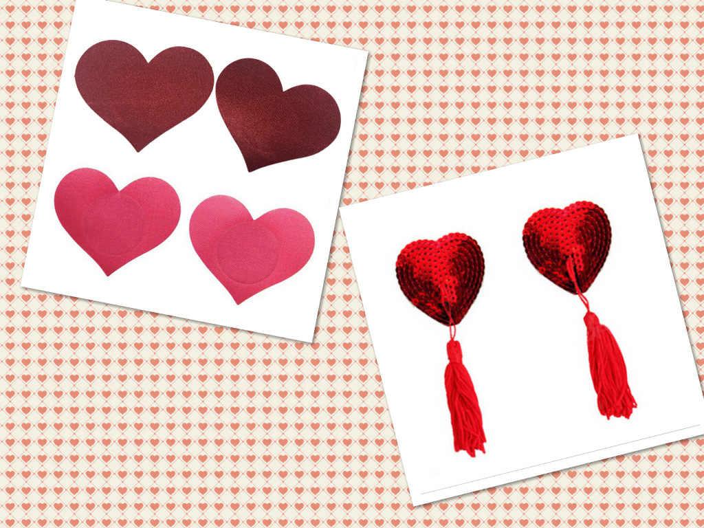 1/5 para Sex produkt seksowne cekiny osłony na sutki z frędzle kształt serca sutek naklejki pasty hurtownie naklejki na biust