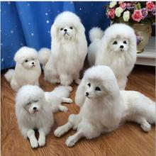 WYZHY Simulation dog ornaments Poodle model props Fur crafts multi-style decorations  40CMx15CMx21CM simulation dog poodle toy model prone pose 40x15x21cm plastic