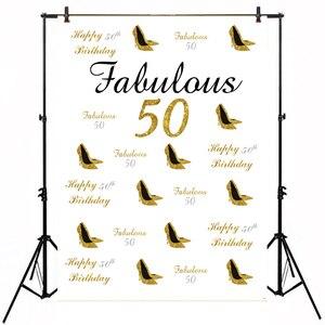 Colorwonder 5X7 Feliz Fabuloso 50th Aniversário Branco Foto Backdrops com Gold Glitter sapatos de Salto Alto para As Mulheres Da Foto do Retrato adereços