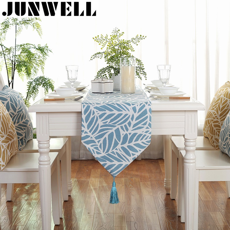 Junwell Fashion Modern Table Runner Colorful Leaves Printed Runner Table Cloth With Tassels Cutwork Embroidered Table Runner