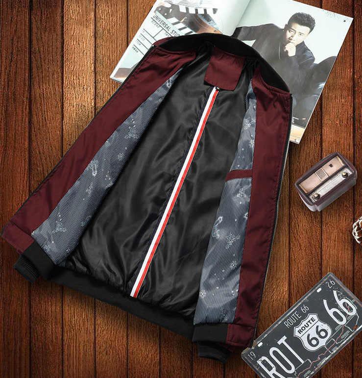 Весенне-осенняя мужская куртка со стоячим воротником ветровка мужская Тонкая бейсбольная повседневная куртка мужская Размер M-5XL