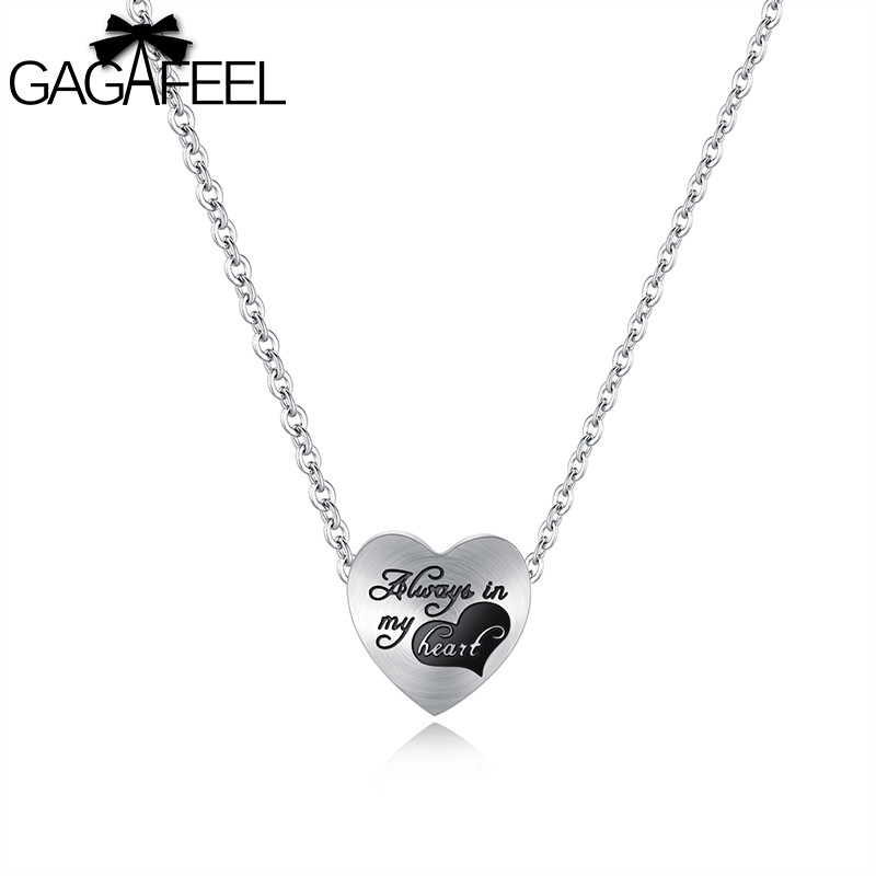 Heart Pendant Necklace Women In My Heart Necklaces Stainless Steel Choker Rose Gold Chain Pendant Lover's Gift Jewelry