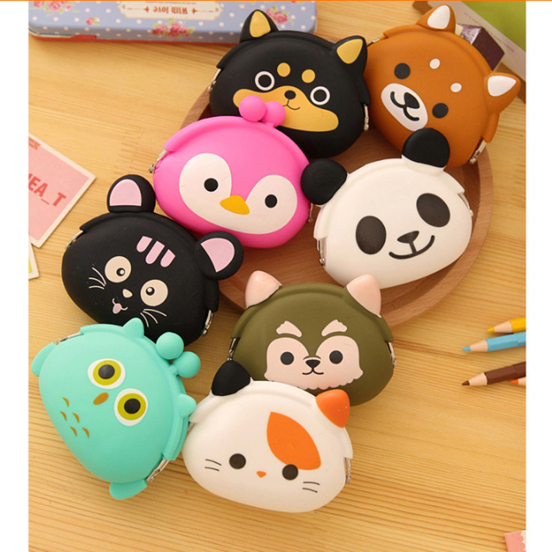 Hot Cute Cartoon Animal Wallets Rubber Purse Bag Silicone Round Coin Purse Wallet Card Rubber Key Phone Frog Design Bag Pouch hot sale cute women cute macaron silicone waterproof coin bag pouch purse wallet drop shipping wholesale fe13