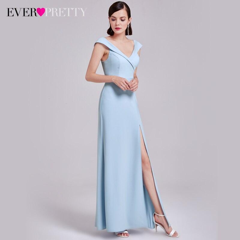 Ever Pretty Long Elegant   Evening     Dresses   Women Robe De Soiree A-Line Gala Gowns Split Sleeveless V-Neck Party Prom Gown Vestidos