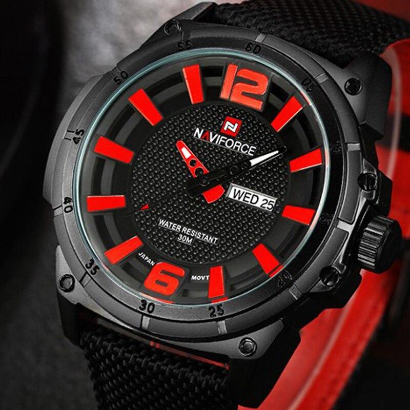 Prix pour 2016 Hommes de Marque NAVIFORCE Mode Sport Montres Hommes 3D Cadran Quartz Montre Homme Bracelet Nylon Armée Militaire montres