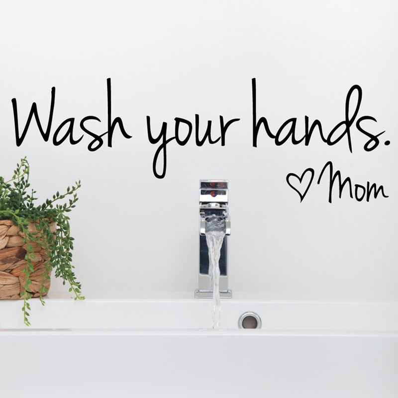 vinilos decorativos de baño - Wash Your Hands Love Mom - Vinilo decorativo de vinilo decorativo para baño, F2071