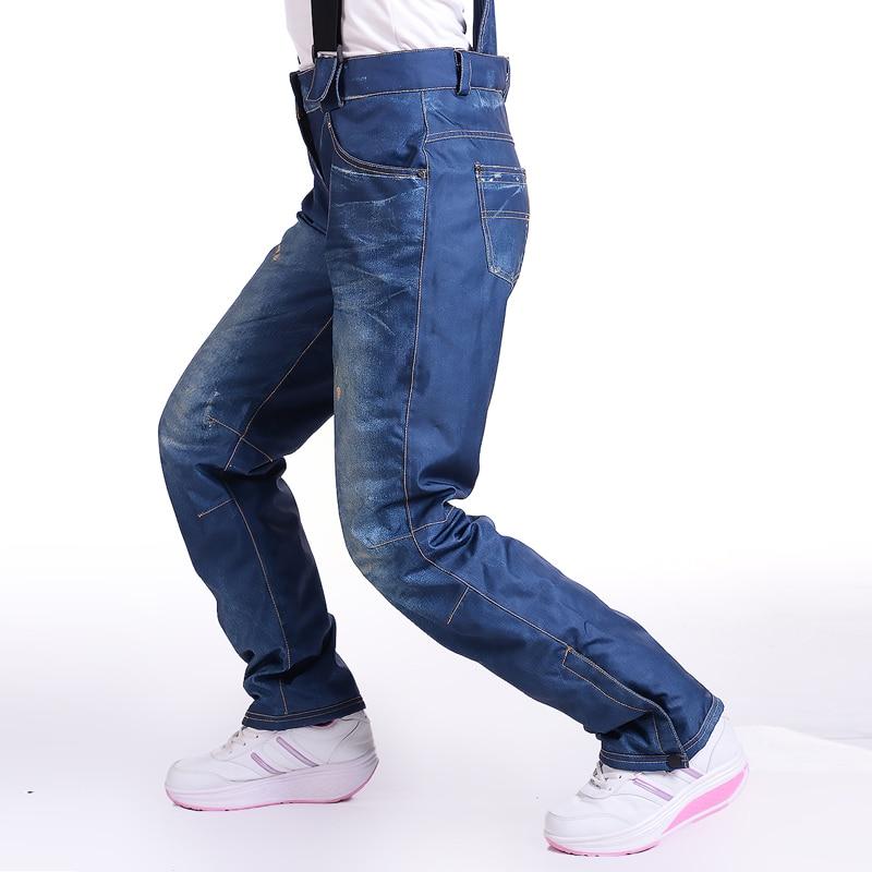 -30 vaqueros estilo mujer Snow Bib Ski pantalones impermeables a prueba de viento snowboard pantalones de invierno deportes al aire libre esquí pantalones suspendidos