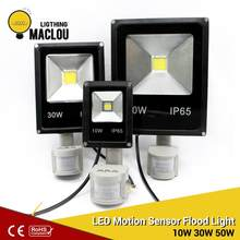 LED Floodlight 10W 30W 50W IP65 LED Flood Light Outdoor 220V With Pir Motion Sensor Spotlight Reflector Waterproof LED WallLamp(China)