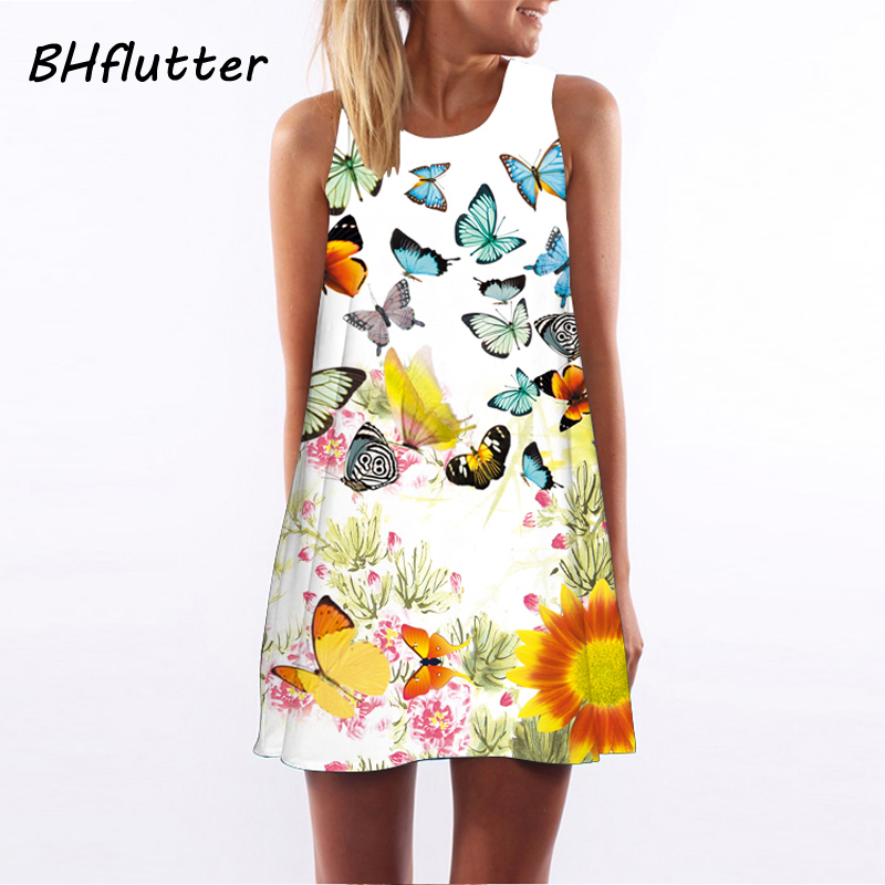 BHflutter Vestido de Festa 2018 Women Chiffon Dress Butterfly Print Summer Style Womens Dress Sleeveless Party Dresses Sundress