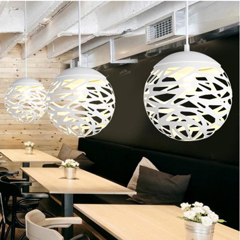 Modern LED pendant light iron Hollow out metal ball lamp living room bedroom shop bar contemporary lighting fixture decoration