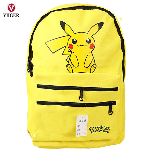 VIIGER Yellow Pokemon Pikachu Canvas Travel Backpack Printing Backpacks for Teenage Girls Boys Kids Children Laptop School Bags