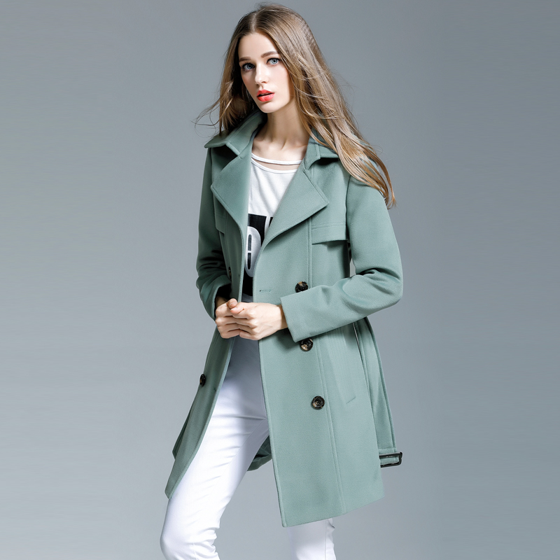 Femelle Taille Survêtement Plus Nouveau Moyen turquoise Élégant 2017 Cachemire Hiver De long Noir Pardessus Femmes Laine La Automne ZfqFS