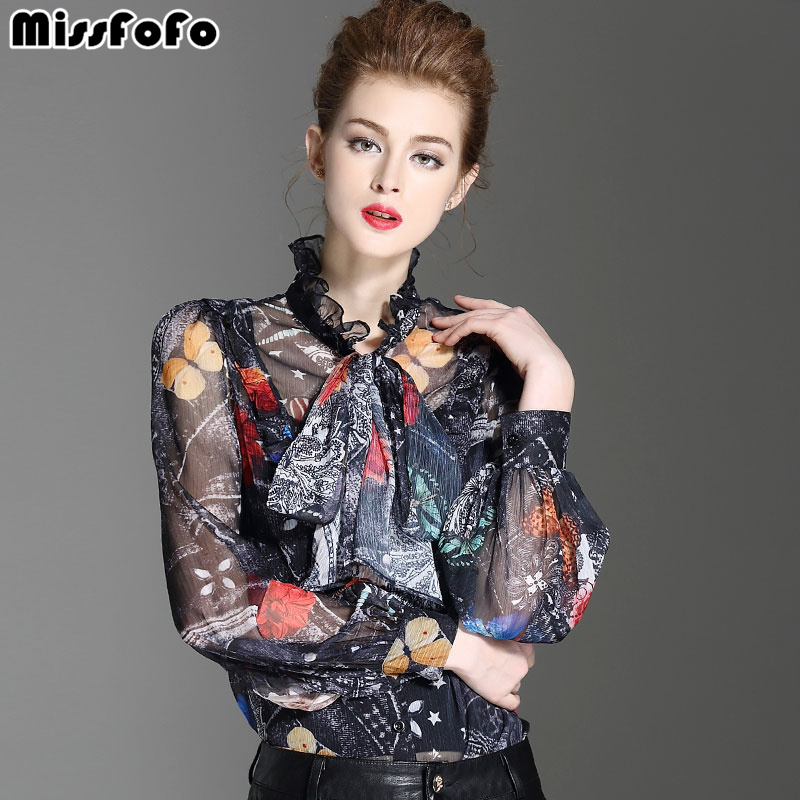 MissFoFo 2019 Fashion Body Suit Bow Blouse New Spring Body shirt Female Fashion Bow Stand Lantern