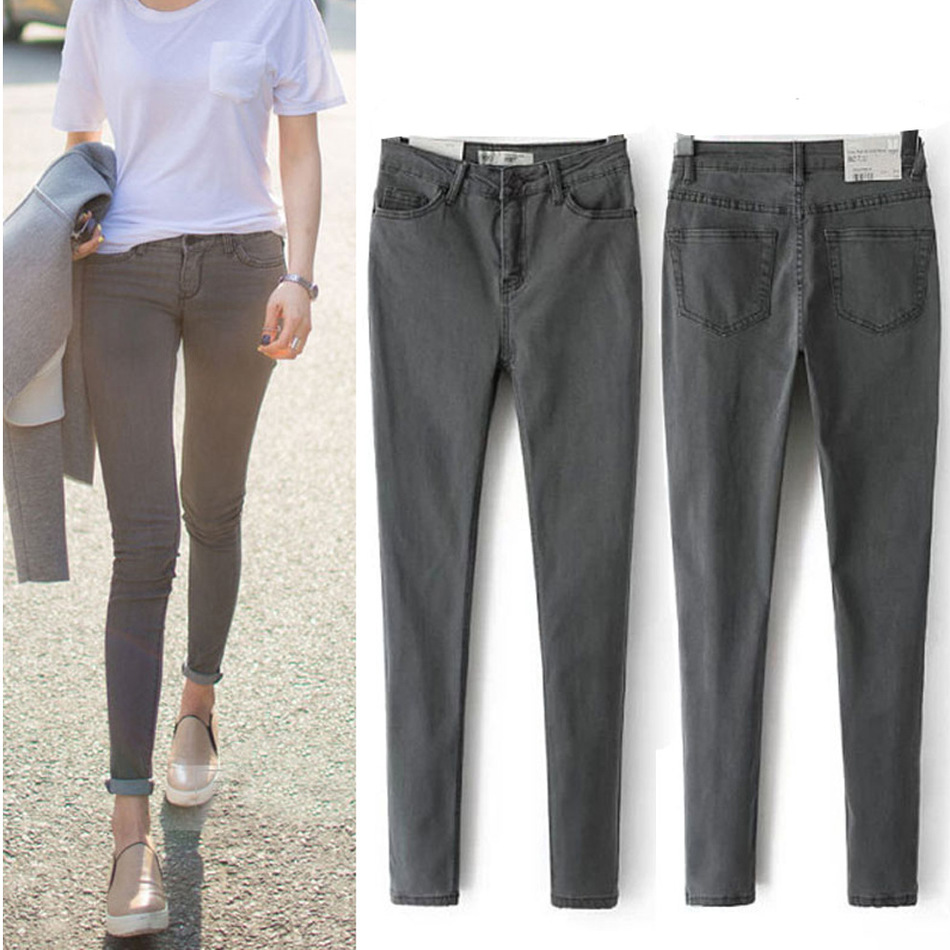 2016 New Arrival Women's Clothes For Autumn Jeans Thin High Waist Plus Size Button Elastic Female Denim Slim Pencil Trousers