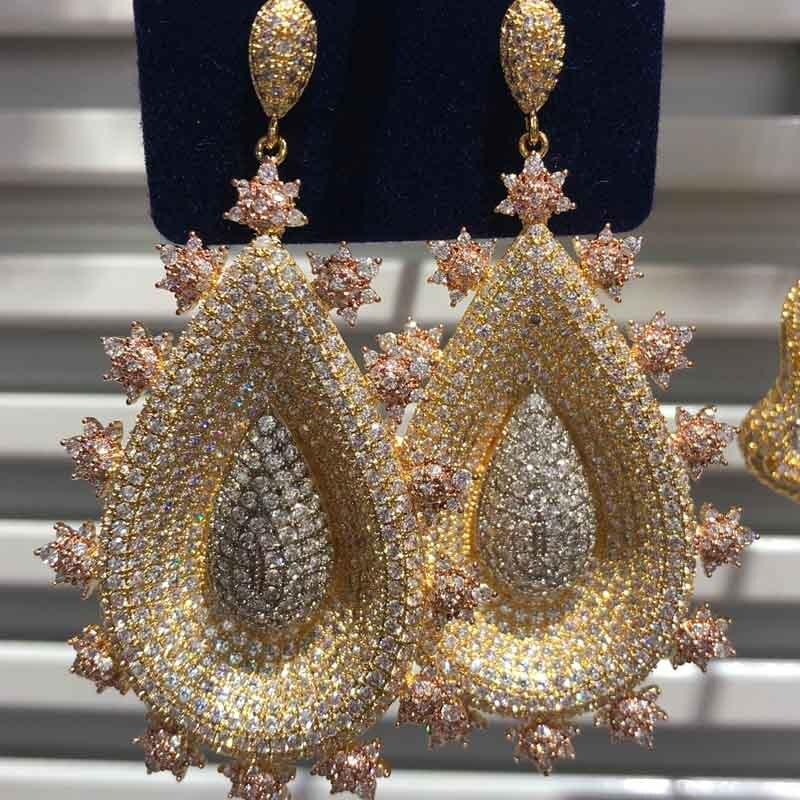 Dazz luxe Dubai fleur tricolore Long Dangle boucles d'oreilles de mariage Zircon couleur or bijoux partie indienne mariée accessoires de mode