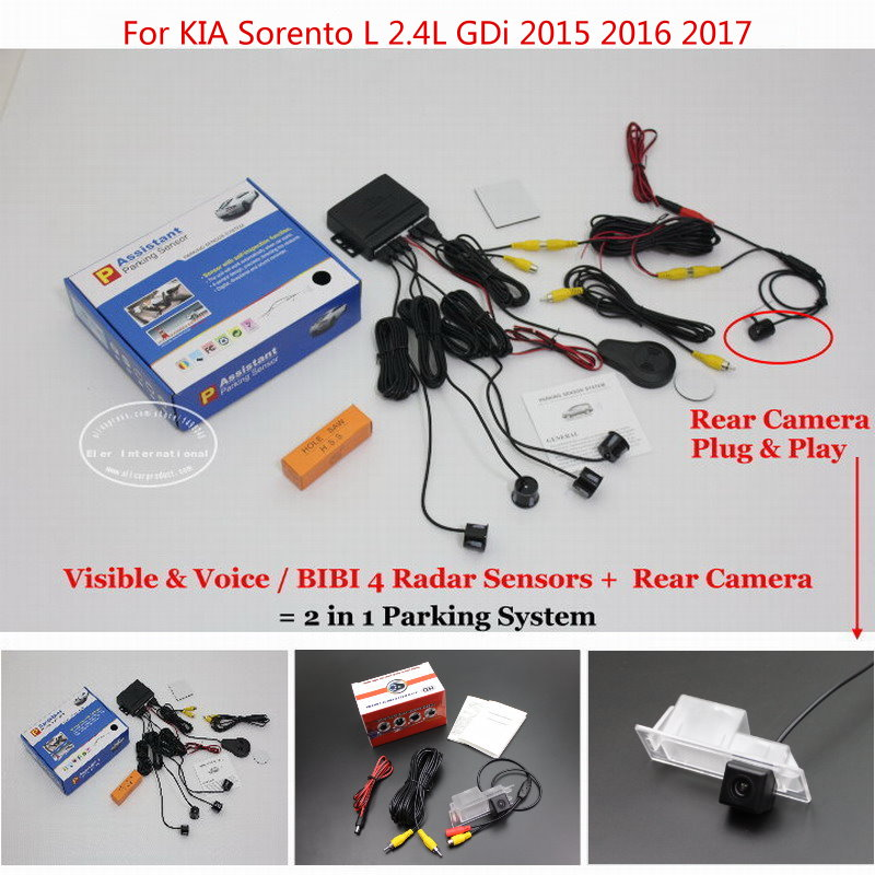 For KIA Sorento L 2.4L GDi 2015 2016 2017 Car Auto Sensor Sensors Rearview Reverse Camera Alarm Parking System