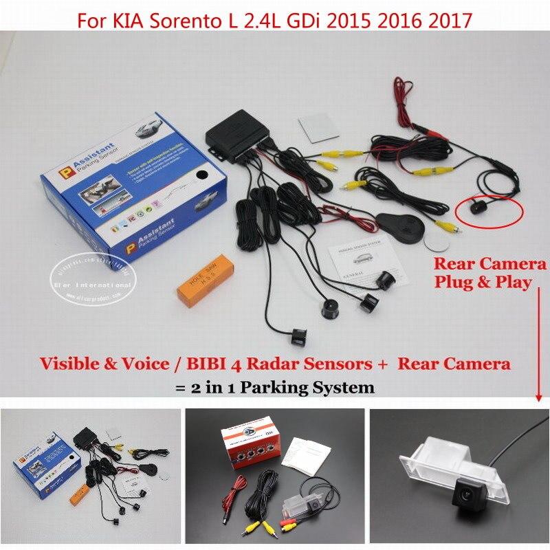 ФОТО For KIA Sorento L 2.4L GDi 2015 2016 2017 Car Parking Sensors+Rear View Back Up Camera = 2 in 1 Visual BIBI Alarm Parking System