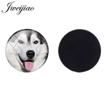 JWEIJIAO 25mm Glass Dome Beads Animal Husky Poodle Bulldog Bichon Dog Magnetic Sticker Fridge Magnet Jewelry Findings CN775 image