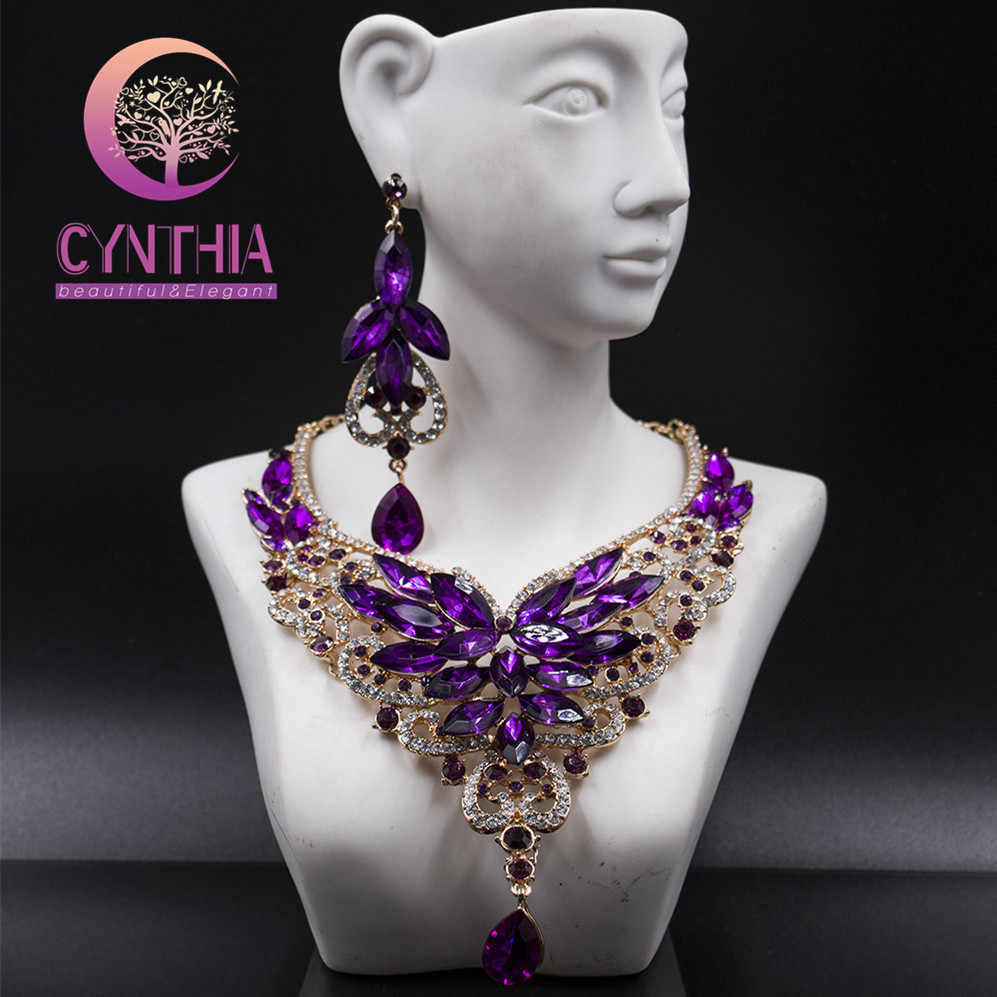 Fashion Crystal Statement Necklace Earings For Women Nigerian Wedding African Beads Jewelry kolye vintage Jewelry Set