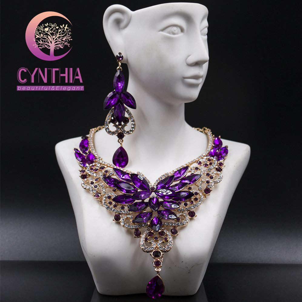 Fashion Crystal Statement Necklace Earings For Women Nigerian Wedding African Beads Jewelry kolye vintage Jewelry SetFashion Crystal Statement Necklace Earings For Women Nigerian Wedding African Beads Jewelry kolye vintage Jewelry Set