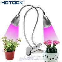 HOTOOK Plant LED Grow Light Gooseneck Flexible Grow Lamp Dual Head Bulb 7W 14W Growth Light