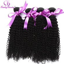 Afro Kinky Curly Brazilian Human Hair Bundles Weave 4pc/lot Color #1B Can be Dye Non Remy Extension Free Ship Trendy Beauty Hair(China)