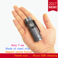 Mini Flashlight USB Charging EDC Ultra Small Hand Light Portable 16340 Miniature Pocket Side By Flashlight