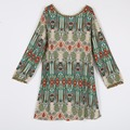 2017 Spring Long Sleeve Dress Summer Vintage Ethnic Dress Sexy Women Boho Floral Printed Casual Beach Dress Loose Sundress 240