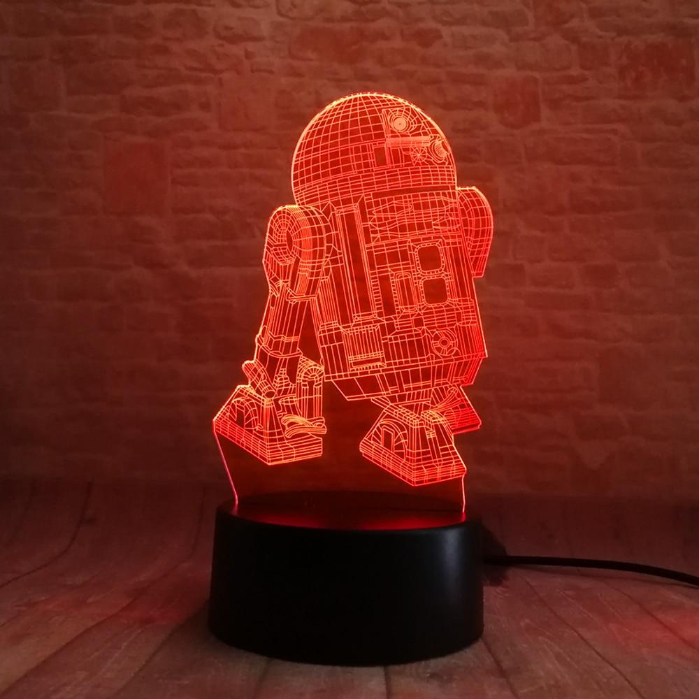 Star Wars Legends Robot R2D2-B 3D 7 Rəng Gradient Gecə Yüngül - Gecə işığı - Fotoqrafiya 2