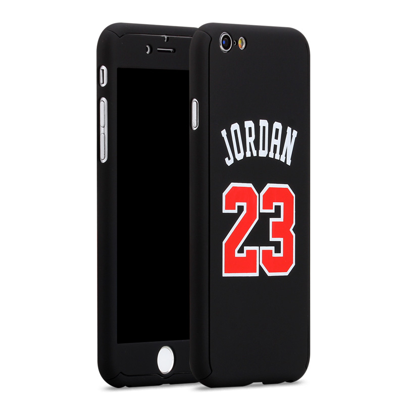 size 40 ffc9c 497e2 US $2.63 25% OFF|360 Full Body NBA Case+Tempered Glass for iPhone 8 7 6s  Plus 7Plus 8Plus Coque Air Michael Jordan for Capinha iPhone 360 Casing-in  ...