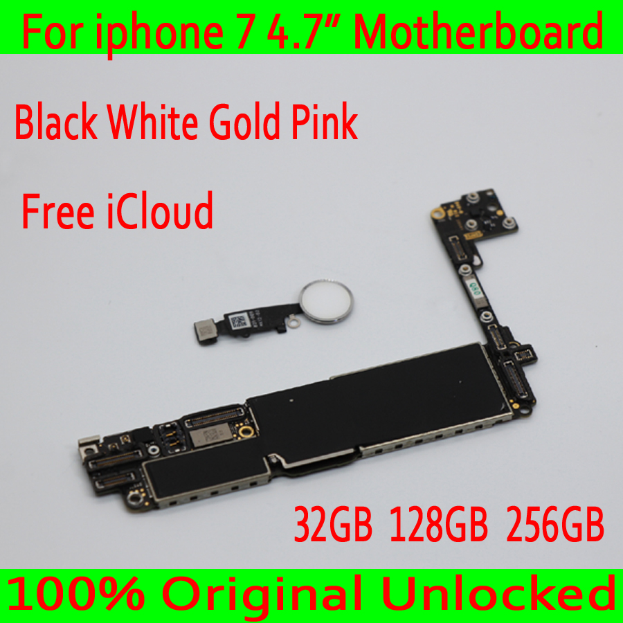 Free Shipping for iphone 7 4.7inch Motherboard unlocked Mainboard 100% Original for iphone 7 Logic board with Touch ID