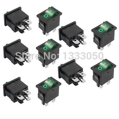 FREE SHIPPING 10 x AC 6A/250V 10A/125V 4 Terminal DPST Green Lamp O/F On-Off Rocker Switch KCD1-104N 5 pcs promotion green light 4 pin dpst on off snap in boat rocker switch 16a 250v 15a 125v ac