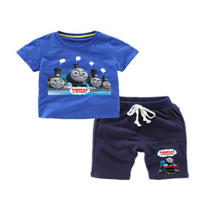 Image 5 - Thomas and Friends 2019 Summer Fashion Casual Short Sleeve O neck  New  clothesThomas Short Sleeve Cotton T Shirt + Pants  Suit