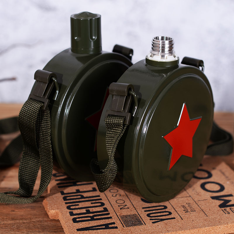 Bicycle Military-Kettle Hip-Flask Army Stainless-Steel-304 Camouflage Camping Sports