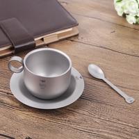 Keith 150ml Coffee Mug Titanium Coffee Mug with Plate Titanium Spoon Outdoor Camping Ultralight Double wall Tea Cup