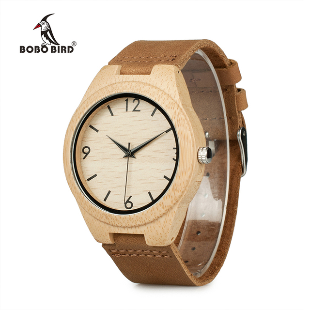 BOBO BIRD WA31A32 Bamboo Wooden Watches for Men Women Number Scales Leather Band