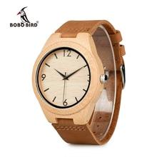 Bobo Vogel WA31A32 Bamboe Houten Horloges Voor Mannen Vrouwen Nummer Weegschalen Lederen Band Liefhebbers Quartz Horloge