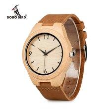 ボボ鳥 WA31A32 竹木製腕時計男性の女性のため番号スケール革バンド恋人クォーツ時計