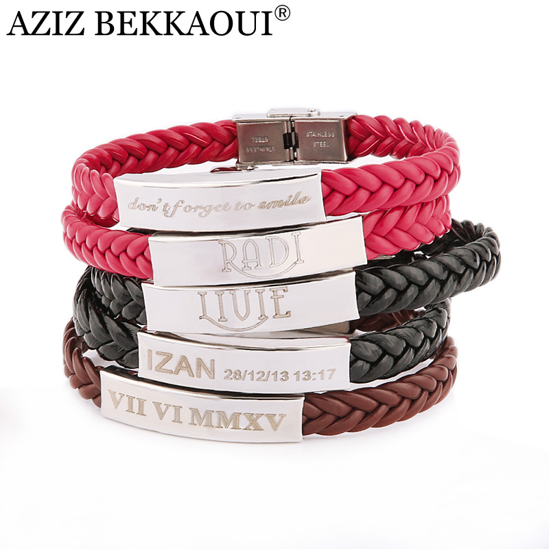Laser Engrave Name Id Bracelet Personalized For Men Stainless Steel Soft Leather Braided Rope