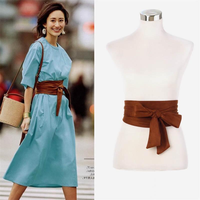 Japanese Vintage Dress Belt Bowknot Tie Sash Wrap Around Girdle Wide Corset Cummerbunds