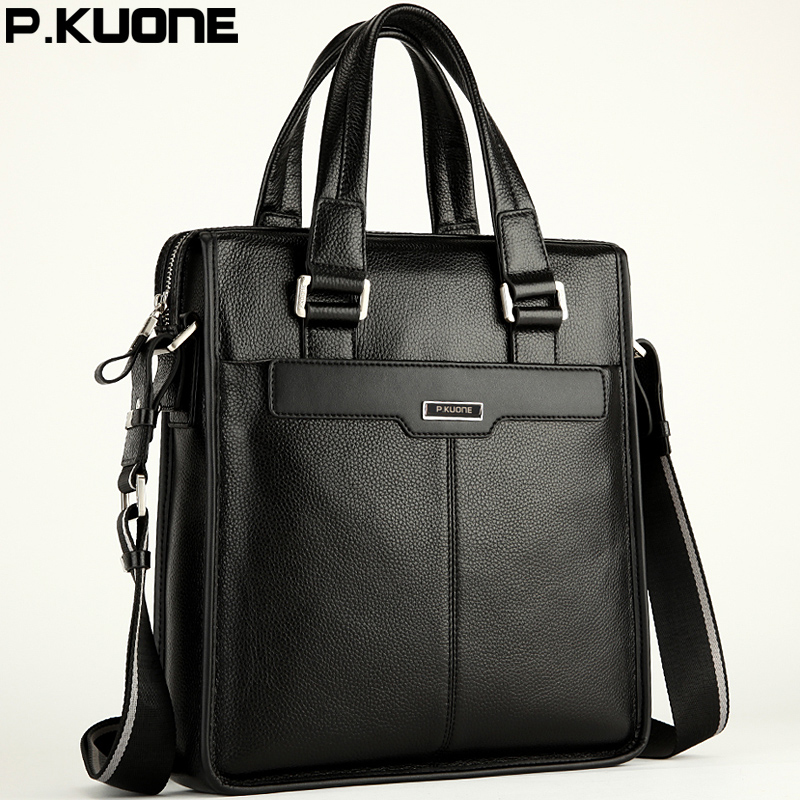 P.KUONE Genuine Leather Men's Messenger Shoulder Bag Gentleman Business Bag Real Leather Men Crossbody Bag Brand fashion handbag genuine leather men travel bab shoulder bag gentleman business bag real leather men crossbody bag brand fashion handbag