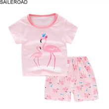 SAILEROAD Baby Girl Summer Pyjamas Children Cartoon Cute Flamingo Pajamas