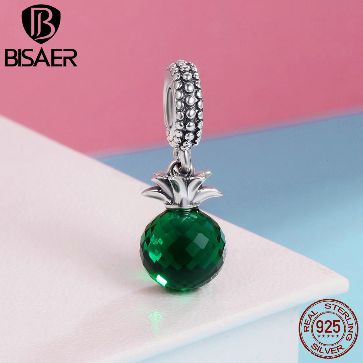 Real 100% 925 Sterling Silver Summer Pineapple, Green Glass Pendants Charms Fit Bead Bracelet Silver 925 Original Fine Jewelry
