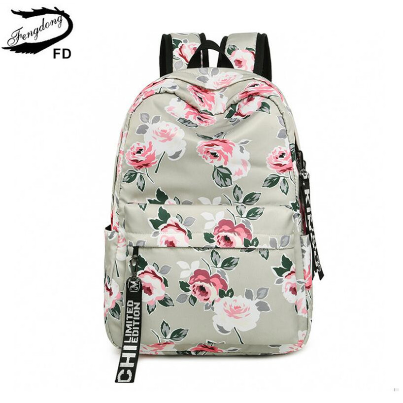 все цены на FengDong chinese style floral school backpack flowers backpacks for teenage girls school bags laptop computer bag schoolbag gift онлайн