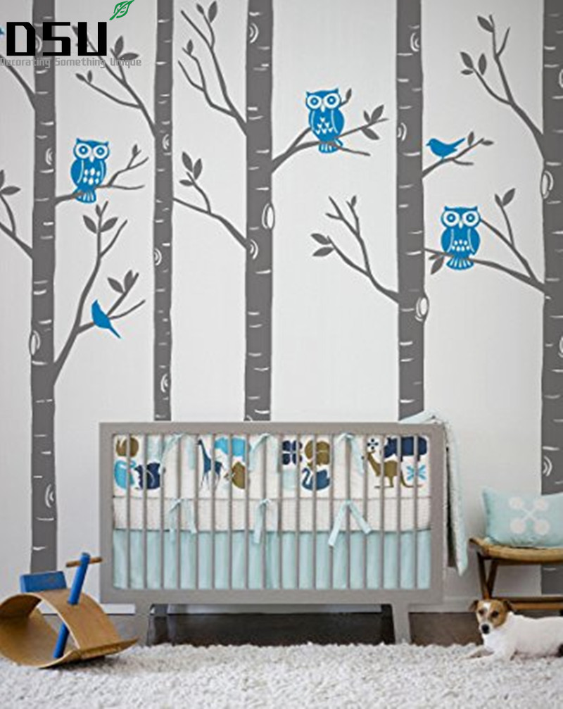 Huge Size Tree Wall stickers Playground Birch Forest With Owls And Birds Vinyl Wall Decal Baby Room Wall Decals Mural Wallpaper fairy & horse wall decal